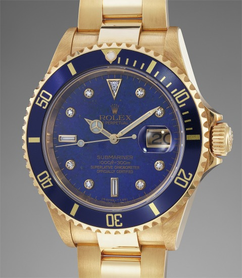 A highly attractive and the only publicly known yellow gold wristwatch with lapis lazuli and diamond-set dial, center seconds and bracelet