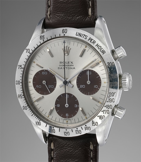 A highly rare and superb stainless steel chronograph wristwatch with silvered dial displaying 'Jumbo Logo' graphics and tobacco 'tropical' registers