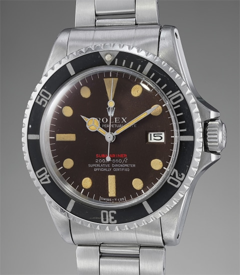 """A very fine, rare and extremely attractive stainless steel automatic diver's wristwatch with center seconds, date, tropical """"Mark II"""" dial and bracelet"""