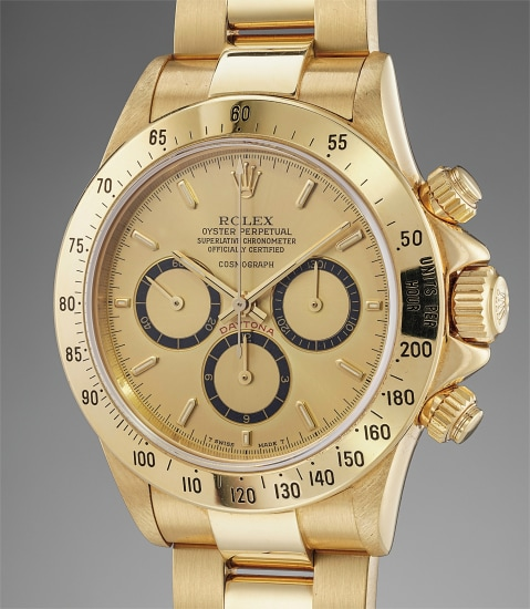 A rare and historically important yellow gold chronograph wristwatch having been offered by Ayrton Senna to Angelo Parrilla