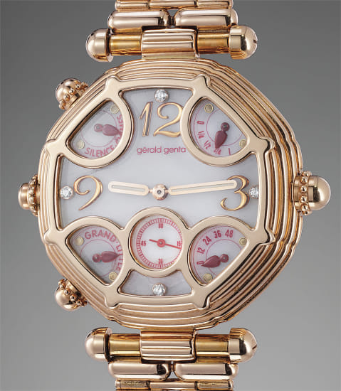 A historically significant and unique pink gold automatic two train minute repeating grande and petite sonnerie tourbillon wristwatch with power reserve, diamond-set mother-of-pearl dial, bracelet and Westminster Chimes