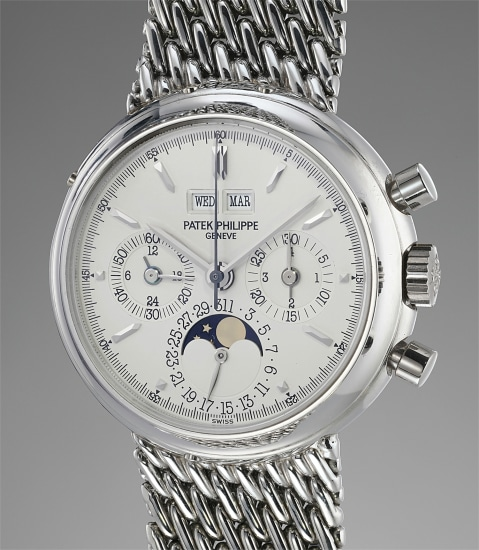 A very fine and extremely rare perpetual calendar chronograph wristwatch with moonphases, leap year, 24-hour indication and bracelet