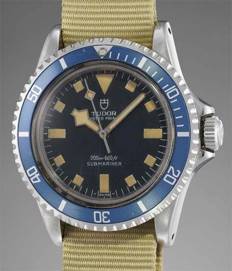 A rare and attractive diver's wristwatch with blue bezel and dial made for the French Navy