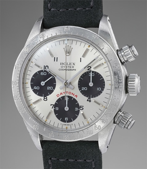 """A stainless steel chronograph wristwatch with """"telephone"""" dial"""
