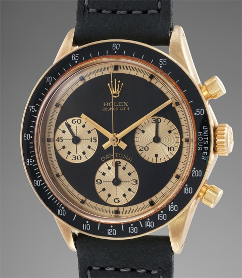 """A fine, rare and extremely attractive 14K yellow gold chronograph wristwatch with Paul Newman """"John Player Special"""" dial"""