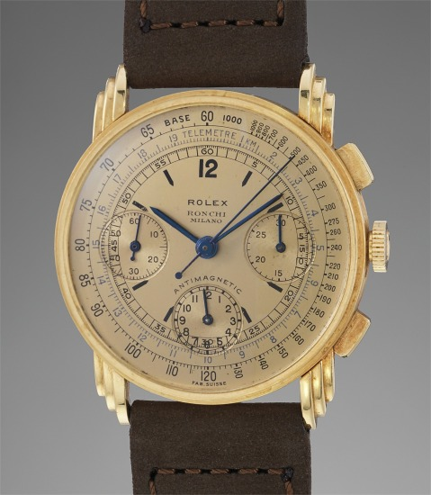 A very rare and fine yellow gold chronograph wristwatch with champagne dial and triple stepped lugs retailed by Ronchi, Milano