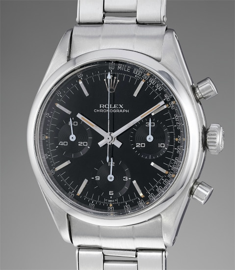 An attractive and spectacularly well-preserved stainless steel chronograph wristwatch with black lacquer dial and bracelet