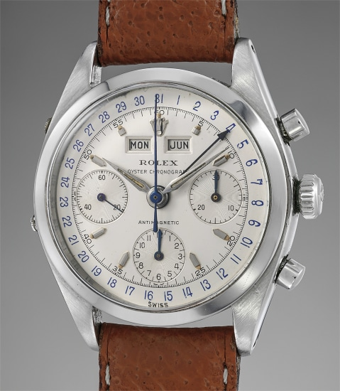 A very fine, rare and incredibly well-preserved stainless steel triple calendar chronograph wristwatch