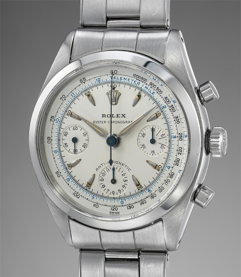 A very fine and superbly well-preserved stainless steel chronograph wristwatch with multi-scale luminous dial and bracelet