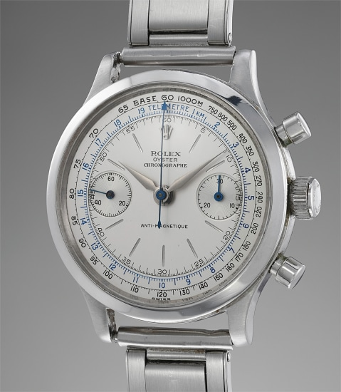 A highly rare and interesting stainless steel chronograph wristwatch with bracelet and original guarantee, given to L. Harvey Poe, Jr. from actress Libby Holman