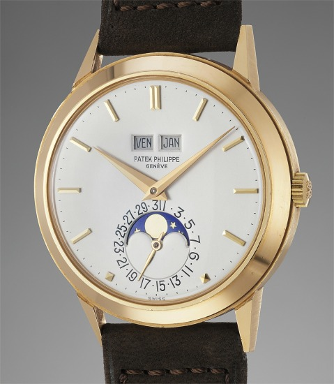 A very fine, rare and important yellow gold automatic perpetual calendar wristwatch with moonphases