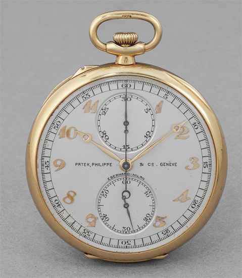 A rare and exceedingly well-preserved yellow gold chronograph openface watch with vertical registers, Breguet numerals, original certificate and presentation box, retailed by Eberhard Milan