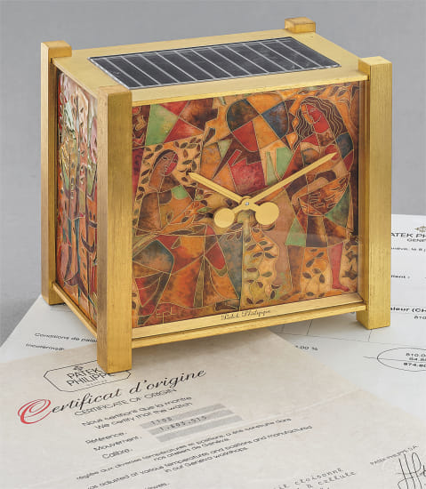 A stunning and unique gilt brass desk clock with cloisonné enamel scene ''La Nature'' with original certificate and invoice, by Elisabeth Perusset Lagger
