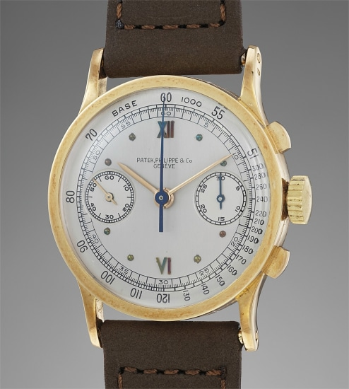A very fine, rare and extremely well-preserved yellow gold chronograph wristwatch with Certificate, invoice and box