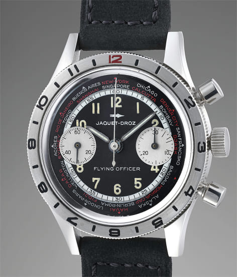 A rare and attractive stainless steel world time chronograph wristwatch with rotating bezel, with case by Gallet