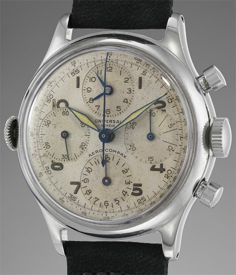 A fine, large and attractive stainless steel chronograph wristwatch with luminous dial and additional time display