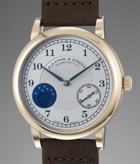 A very fine and rare honey gold limited edition wristwatch with moonphases, original guarantee and presentation box, made to commemorate the 165th anniversary of A. Lange & Söhne in 2010