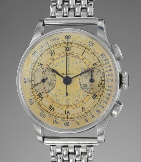 A very attractive, oversized stainless steel chronograph wristwatch with multiple scales and bracelet