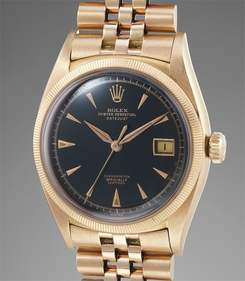 A large, rare and attractive pink gold wristwatch with black lacquer dial and bracelet