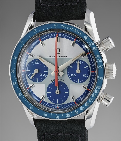 A rare and superbly preserved stainless steel chronograph wristwatch with silver and blue dial, additional service bezel and box