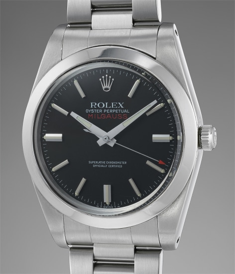 A rare and attractive anti-magnetic stainless steel wristwatch with bracelet, guarantee and presentation box
