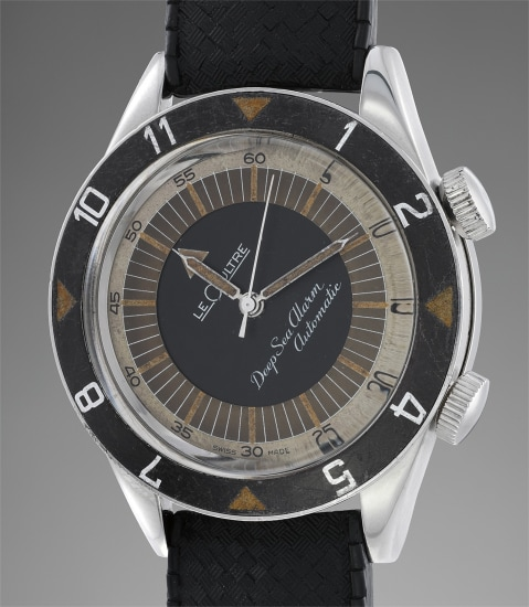 A very rare diver's wristwatch with alarm function and box paired with matching number modern stainless steel wristwatch made to pay tribute to the model