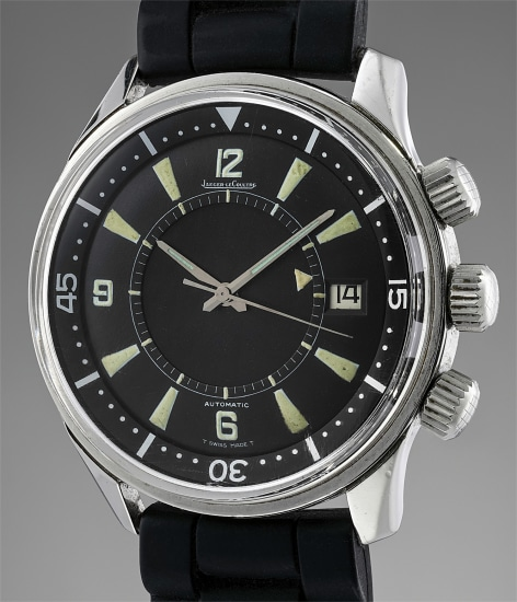 A fine and rare stainless steel automatic diver's wristwatch with center seconds, alarm and date