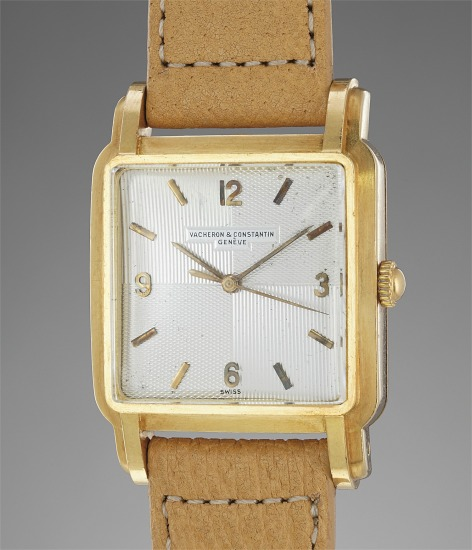A rare and very attractive square-shaped yellow gold wristwatch with fancy lugs and beautiful double guilloché dial