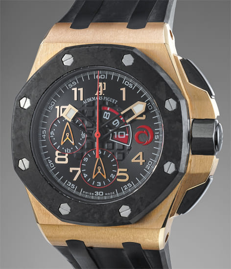 A massive and bold limited edition pink gold and forged carbon chronograph wristwatch made to commemorate the Alinghi team victory in 2007