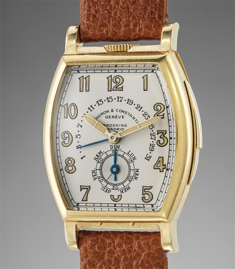 A spectacular, unique and historically important yellow gold minute repeater wristwatch with day, retrograde date and original unrestored extra dial