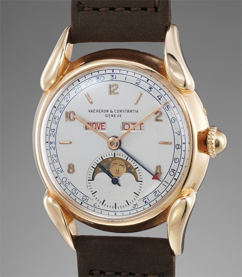 An extremely fine, rare and attractive pink gold triple calendar wristwatch with moonphases, Italian calendar and claw lugs