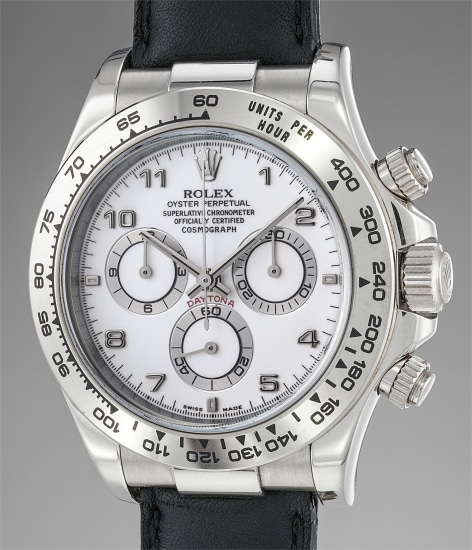 A rare and attractive white gold chronograph wristwatch with guarantee and presentation box