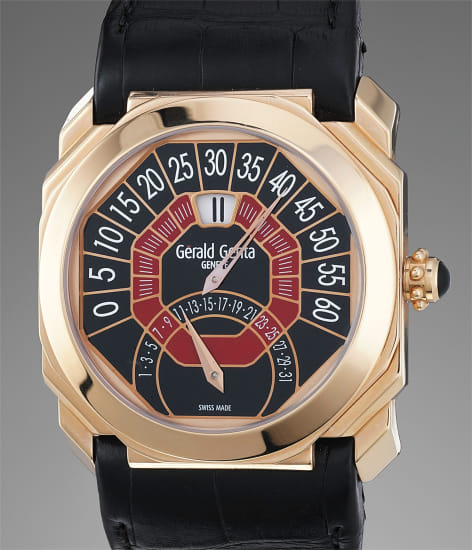A fine and unusual red gold calendar wristwatch with retrograde minutes, digital hours, Certificate and box