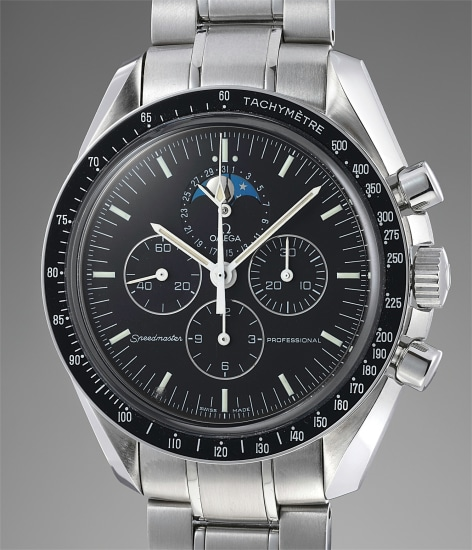 A rare and attractive stainless steel chronograph wristwatch with moonphases and bracelet