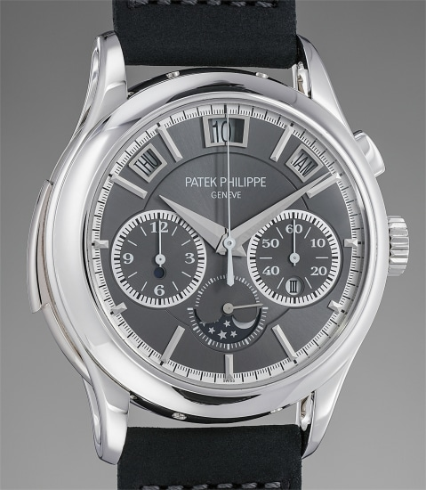 A very rare and highly important platinum minute repeating single-button chronograph wristwatch with instantaneous perpetual calendar, moonphases, certificate and boxes
