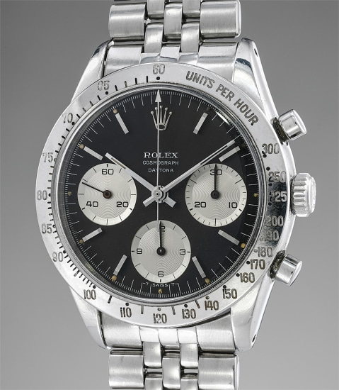 """An extremely rare and early stainless steel chronograph wristwatch with bracelet and """"floating"""" Daytona signature"""