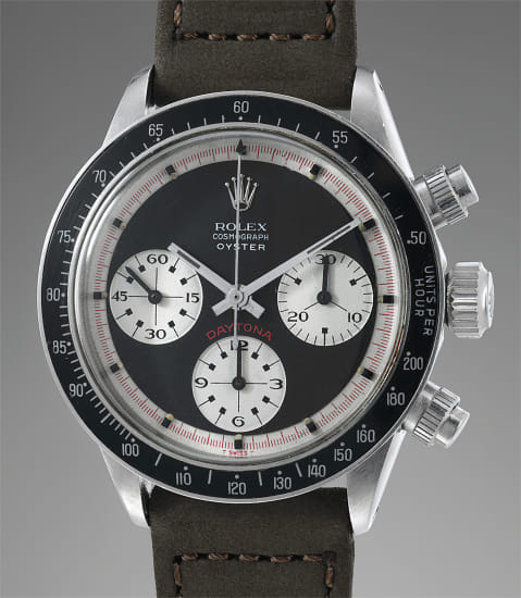 """A very fine, extremely rare and highly important stainless steel chronograph wristwatch with """"Oyster Sotto"""" Paul Newman dial"""