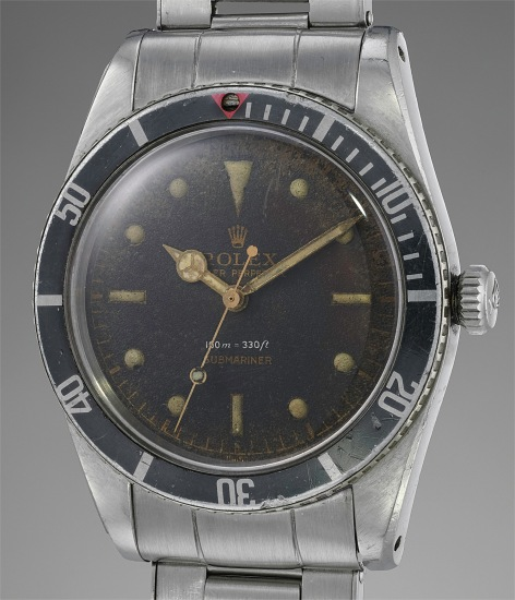 """A rare and attractive stainless steel wristwatch with black lacquer dial and """"Big Logo"""" bracelet"""