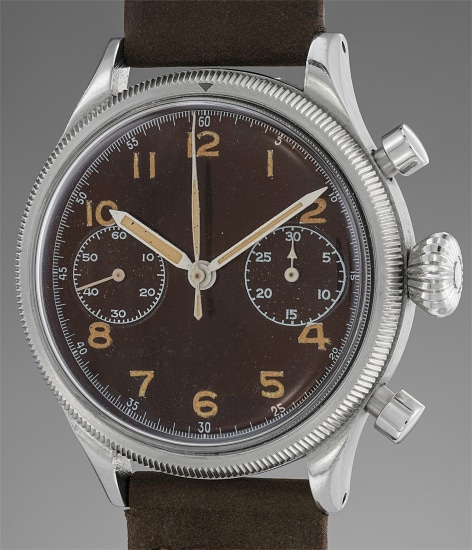A very rare and attractive stainless steel military issued chronograph wristwatch with degradé brown tropical dial