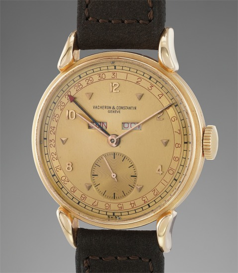 A fine, very rare, and extremely well-preserved pink gold triple calendar wristwatch with pink two-tone dial
