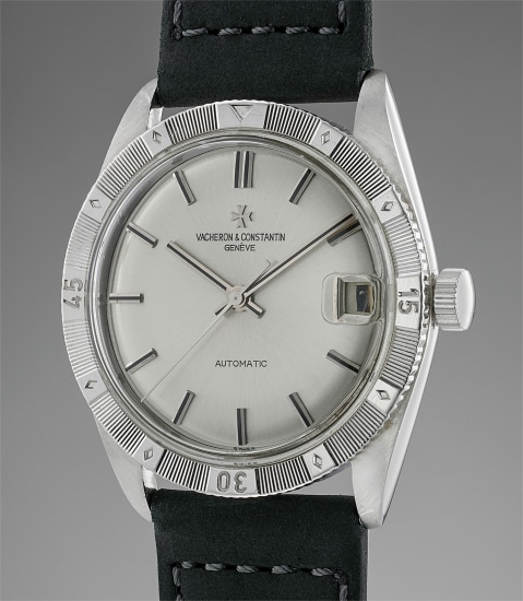 An incredibly rare and highly attractive white gold wristwatch with rotating bezel