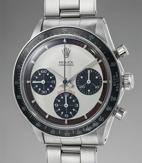 """An exceptionally well-preserved and rare stainless steel chronograph wristwatch with """"Paul Newman"""" dial and bracelet"""