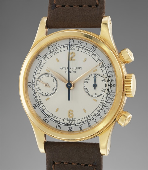 A very rare and attractive yellow gold chronograph wristwatch with two tone dial