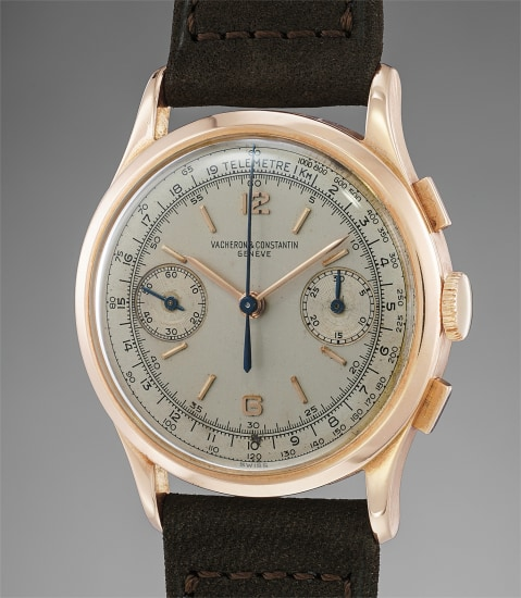 A rare, attractive and well-preserved pink gold chronograph wristwatch