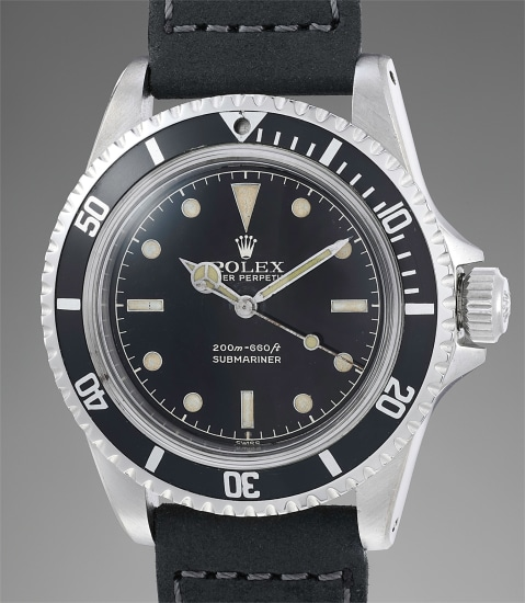 A fine, attractive and very well preserved stainless steel automatic wristwatch with center seconds, exclamation mark dial and pointed crown guards