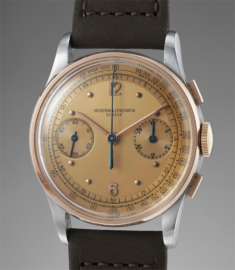 A superbly preserved stainless steel and 14K pink gold chronograph wristwatch with two tone pink champagne dial