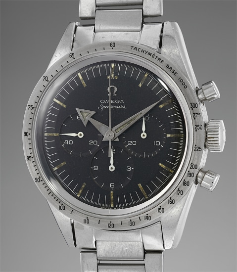 A fine and attractive stainless steel chronograph wristwatch with Broad Arrow hands and bracelet