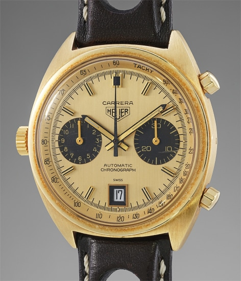 A fine and rare yellow gold automatic chronograph wristwatch with date