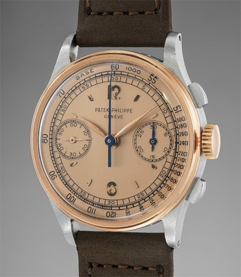 An extremely fine and rare stainless steel and pink gold chronograph wristwatch with two-tone pink dial