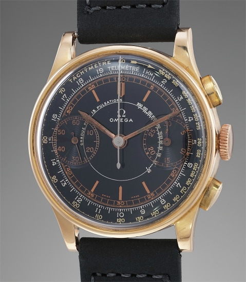 A highly attractive and rare pink gold chronograph wristwatch with black lacquer dial and gilt triple scale
